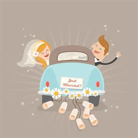 Just Married Auto Comic by Just Married Car Vector Premium