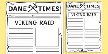 viking raid newspaper template vikings writing literacy