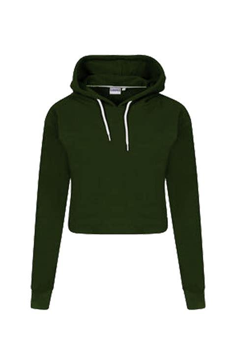 Plain Cropped Hoodie womens pullover fleece plain cropped top crop hoody