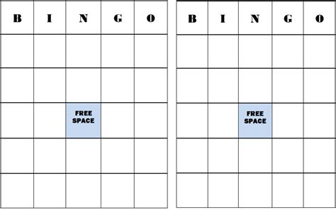 editable bingo card template bingo card template