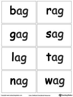 printable reading flashcards for toddlers in word family flash cards activities word families and