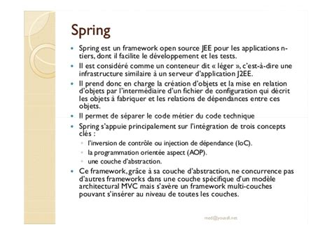 spring framework spring 232 un framework open source per lo support jee spring inversion de controle ioc et spring mvc