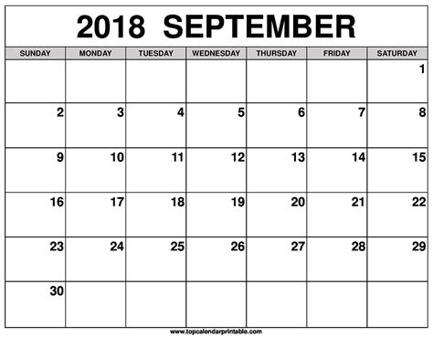 printable calendar september 2017 to august 2018 september 2018 calendar