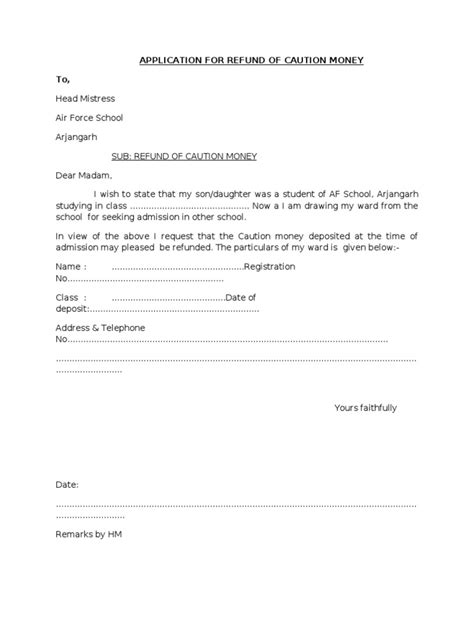 Service Money Request Letter Application For Refund Of Caution Money