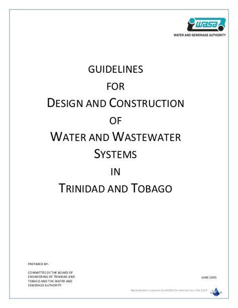 design criteria water supply system wasa guidelines for design of water and wastewater systems