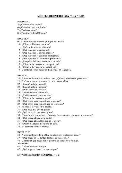 preguntas faciles de una entrevista modelo de entrevista para ni 241 os