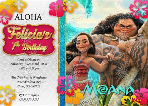 Invitation Card Moana moana birthday invitations kustom kreations