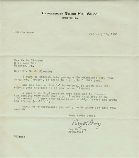 Award Honoree Letter Clausen Collection
