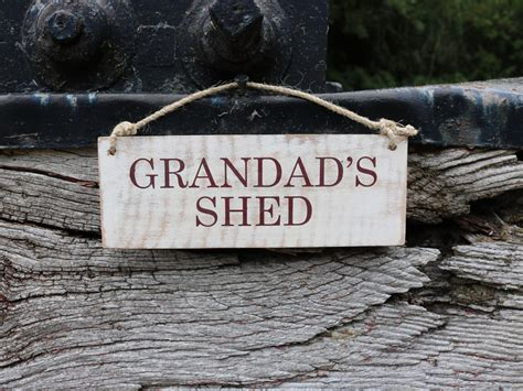 wooden garden signs grandad s shed humane research trust