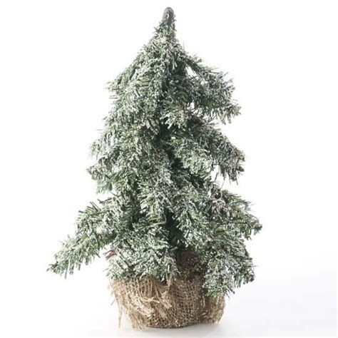 artificial frosted christmas tree with burlap base