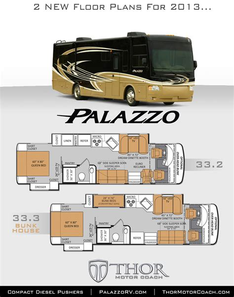 Class A Diesel Pusher With Bunk Beds New Class A Bunkhouse Diesel Pushers With Bunk Beds Announced For Top Palazzo Diesel Rv Motor