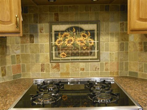 kitchen tile murals backsplash decorative tile backsplash kitchen tile ideas sunflower basket tile mural