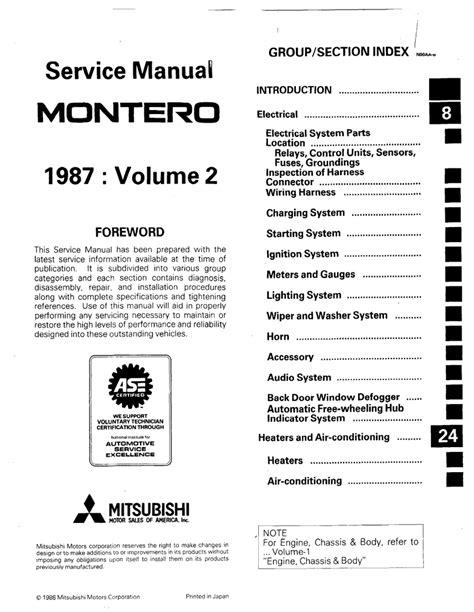how to download repair manuals 1987 mitsubishi cordia electronic valve timing mitsubishi montero 1987 service manual