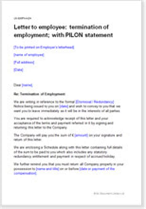 Resignation Letter Payment In Lieu Of Notice Employment Termination Letter Payment In Lieu Of Notice
