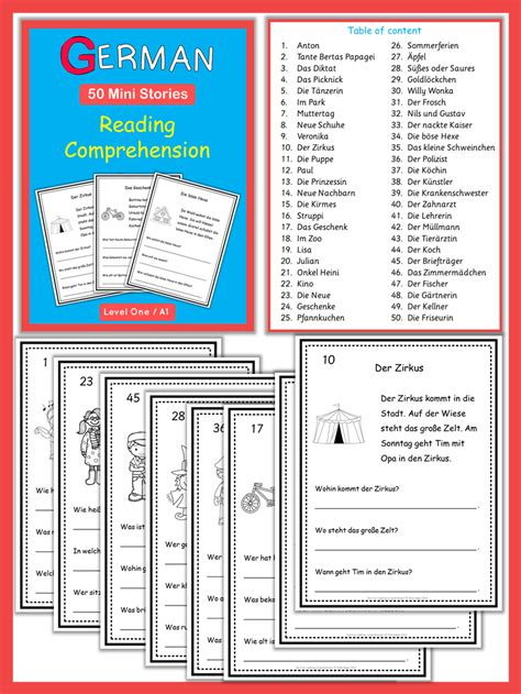 german reading comprehension 50 mini stories my teaching