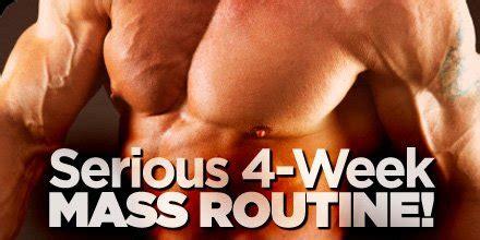bodybuilding mass gain programs articles serious 4 week mass routine bodybuilding com
