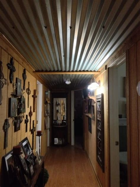 Tin Ceiling Ideas by Barn Tin Ceiling In Our Hallway Cabin Ideas