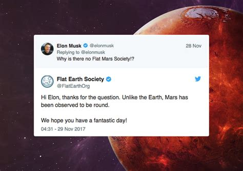elon musk flat earth society flat earthers respond to musk asking about flat mars