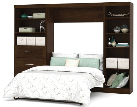 full bed with drawers on one side pur chocolate 120 quot full wall bed with left side drawers