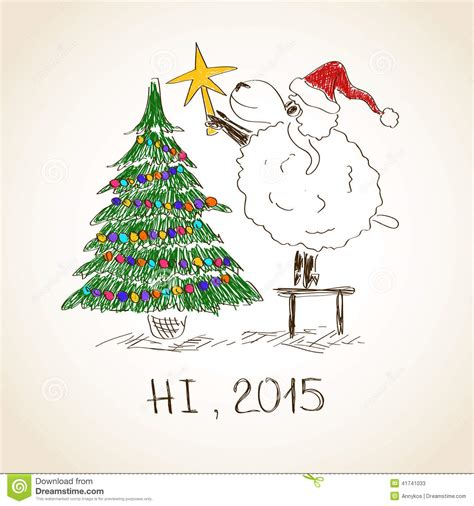 new year 2015 year of the sheep or goat happy new year sheep 2015 stock vector image 41741033