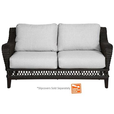 patio loveseat cover hton bay woodbury all weather wicker patio loveseat with cushion insert slipcovers sold