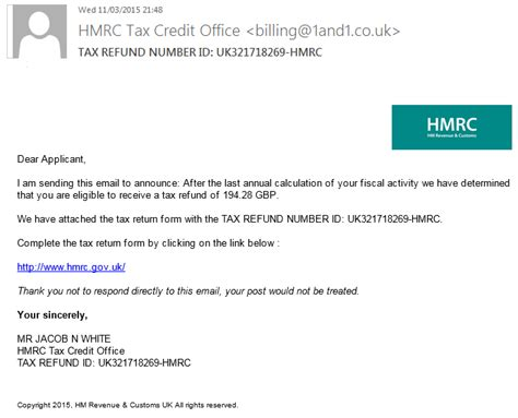 Tax Credit Form Hmrc Phishing Email Scams It Risk Specialists
