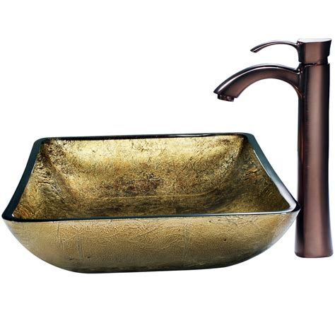 vigo glass vessel sinks vigo rectangular copper glass vessel and faucet set