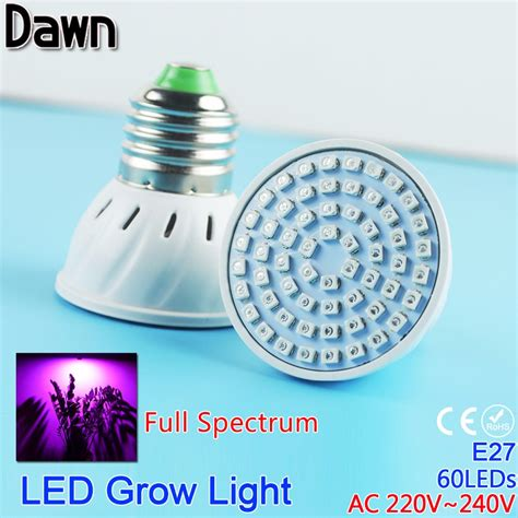full spectrum non uv light bulbs 60led full spectrum grow light ac 220v 5w e27 led grow