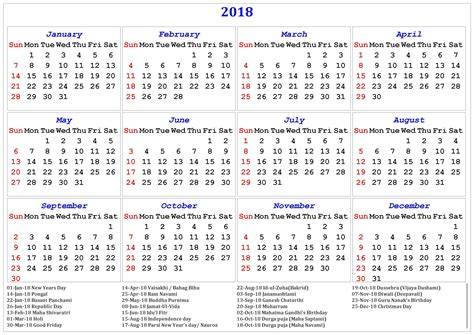 printable calendar 2018 design 2018 printable calendar with indian holidays free
