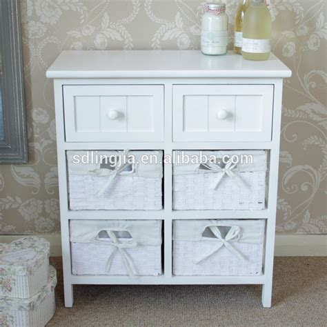 White Wicker Bathroom Drawers by White Wicker Storage Unit 4 Basket 2 Drawer Storage