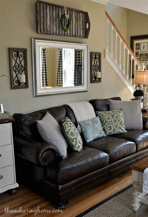 decorating with leather sofas the endearing home family room updates love pinterest couch sofas and mirror