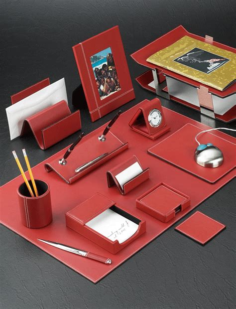 Desk Set Accessories Stitched Leather Desk Accessories Set With Chrome Plated Brass Accents Desk Sets