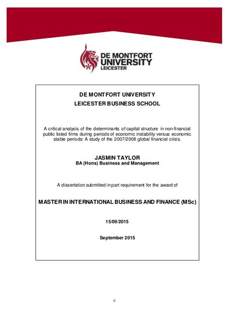 capital structure dissertation dissertation capital structure