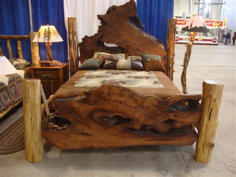 Rustic Bed by Rustic Beds Live Edge Burl Wood Slab Bed