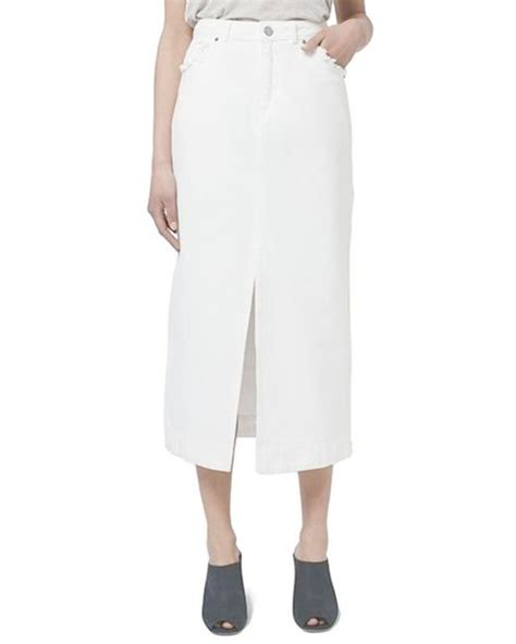 topshop denim midi skirt in white lyst