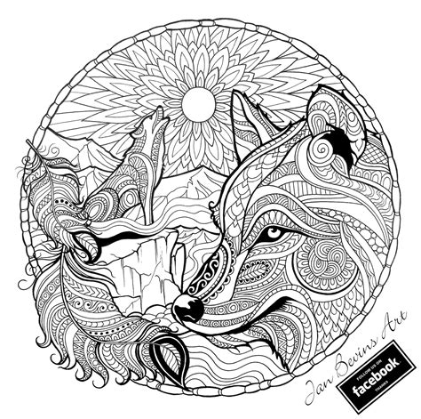 wolf mandala coloring pages wolf coloring activity therapy wolf