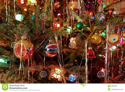antique looking christmas lights kitsch 70s style decorated christmas tree stock photo