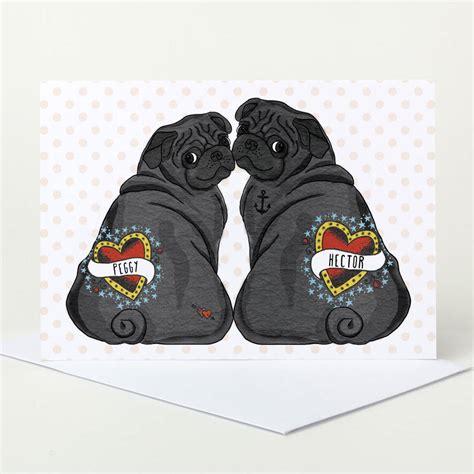 pug wedding card customisable black pug wedding card by pugyeah notonthehighstreet