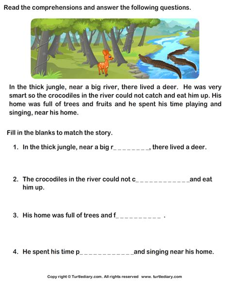 reading comprehension stories worksheet turtle diary