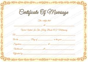 Free Editable Certificates Templates Free Editable Marriage Certificate Template