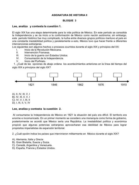 preguntas de historia de mexico examen bloque 3 historia de mexico