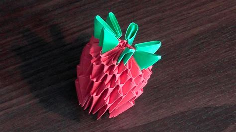 3d Origami Strawberry - 3d origami strawberry tutorial for beginners