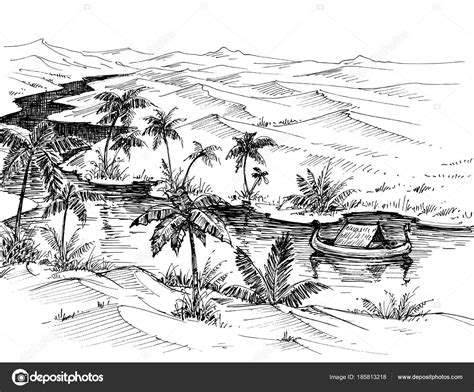 boat in river drawing egypt landscape hand drawing boat on nile river stock