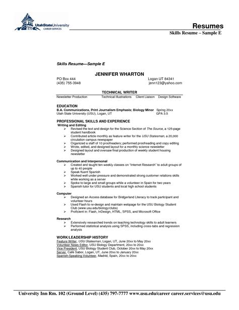 resume exles templates 10 list of resume skills