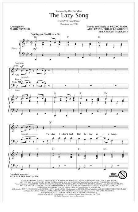 Download The Lazy Song Sheet Music By Bruno Mars - Sheet