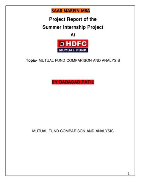 Mba Internship Projects In Finance by Hdfc Finance Project Report