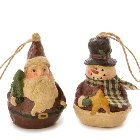 paper clay ornaments primitive paper clay snowman and santa ornament set ornaments and winter