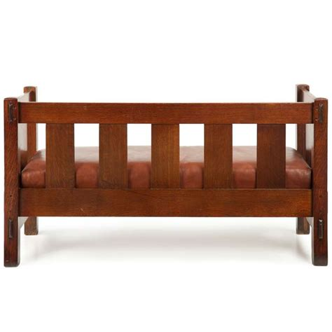 gustav stickley mission oak settee sofa bench 205 c
