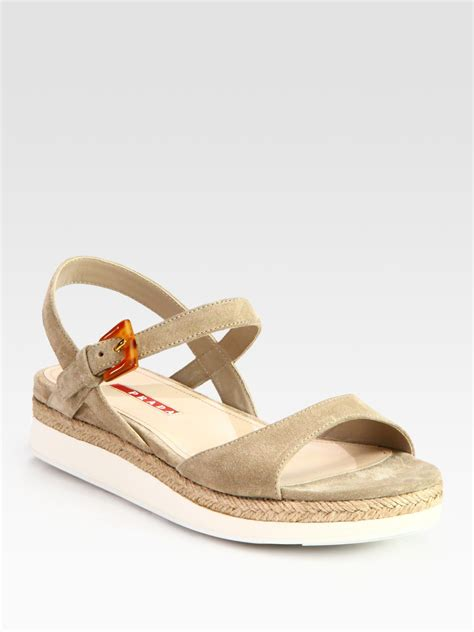 flat suede sandals prada suede and micro foam flat sandals in beige desert