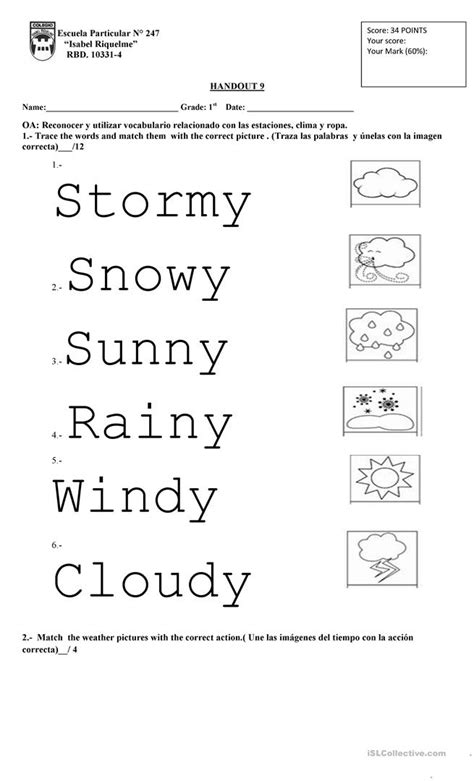 weather 1st grade english esl worksheets
